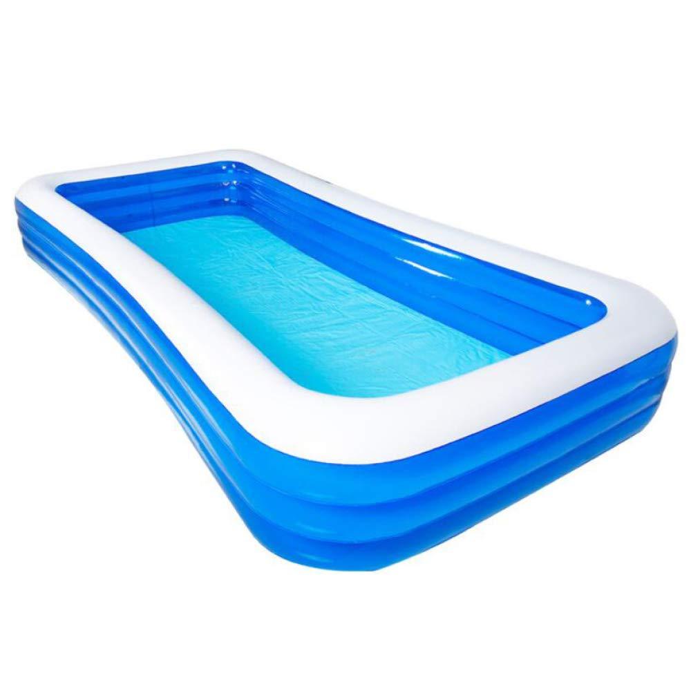 ZHKGANG Aufblasbares Schwimmbad Im Freien Garten Sitzgelegenheiten Pool Haus Verdickt Rechteckigen Pool Sommer, Blau-3layers-428  210  60cm Blau-3layers-42821060cm