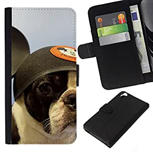 All Phone Most Case / Oferta Especial Cáscara Funda de cuero Monedero Cubierta de proteccion Caso / Wallet Case for HTC Desire 820 // French Bulldog Boston Bull Terrier Dog