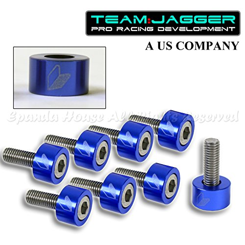 For 88-15 Civic CRX JDM Logo 9Pc 8mm Bolts Header Cup Washers DIY Anodized Blue ()
