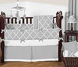 Sweet Jojo Designs 9-Piece Modern Gray and White Trellis Baby Bedding Gender Neutral Girl or Boy Lattice Print Crib Set