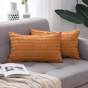 MIULEE Lot de 2 Housse de Coussin Mélangés Decoration Taie d'oreiller avec Cordon de Bavure Protecteurs de Coussin Lin…