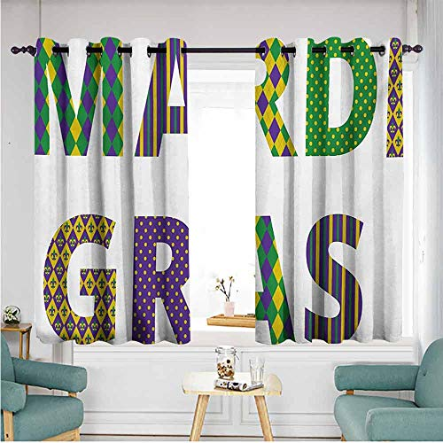 ETHEEKA Thermal Insulating Blackout Curtains,Mardi Gras,Energy Efficient, Room Darkening,W63x63L,Purple Green Yellow