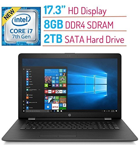 2018 High Performance HP 17.3? HD+ (1600x900) Display Laptop PC 7th Gen Intel Core i7-7500U Processor up to 3.5GHz 8GB DDR4 SDRAM 2TB HDD DVD-RW Bluetooth WIFI HDMI Webcam Windows 10