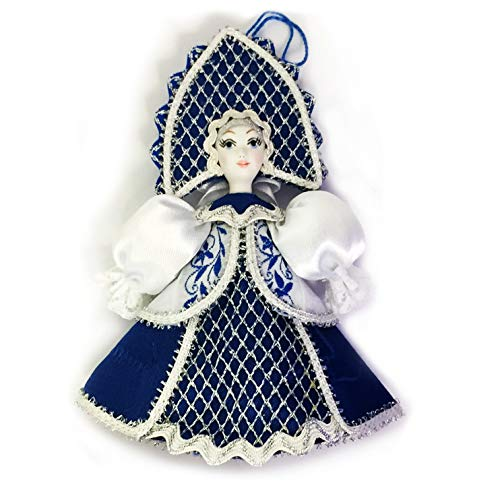 (World Faith Porcelain Face Doll Russian Porcelain Face Doll Ornaments Christmas Decorations Kakoshnik 5 Inches Comes with Small Hanger to Hang On Tree)
