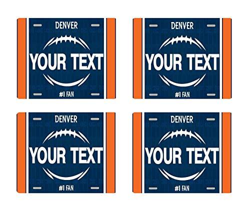 (BRGiftShop Personalize Your Own Football Team Denver Set of 4 Square Beverage)