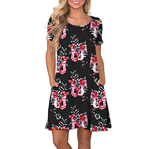 Alangbudu Women's Summer Floral Print Short Sleeve Tunic Top Swing T-Shirt Loose Wiggle Dress with Pockets Black