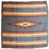 Wyoming Traders Western Cowboy Buckaroo Aztec Print Silk Bandana Scarf Wild Rag, Tan-teal , Large
