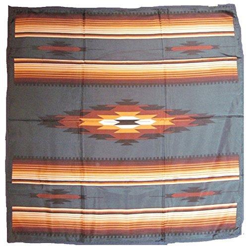 ern Cowboy Buckaroo Aztec Print Silk Bandana Scarf Wild Rag (Tan-Teal) ()