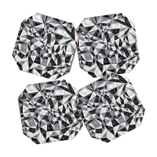 Deny Designs Gneural Triad Illusion Gray Coasters, Set of 4