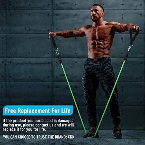 Gomas Elásticas Fitness, Takemirth 5 Bandas de Resistencia Diferente de Látex Natural para Musculación Entrenamiento Pilates CrossFit con Manijas ...
