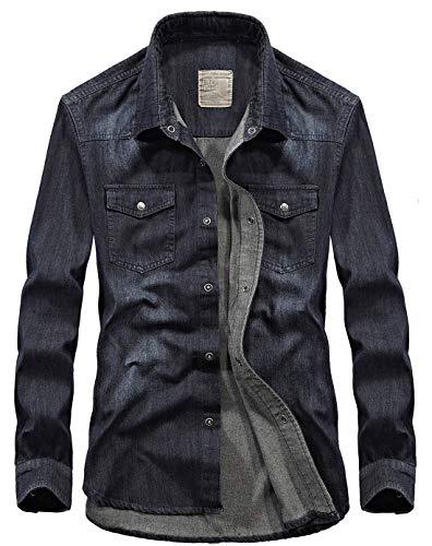 chouyatou Men's Essential Snap Button Down Long Sleeve Washed Denim Shirt (Small, Bluish Black) ()