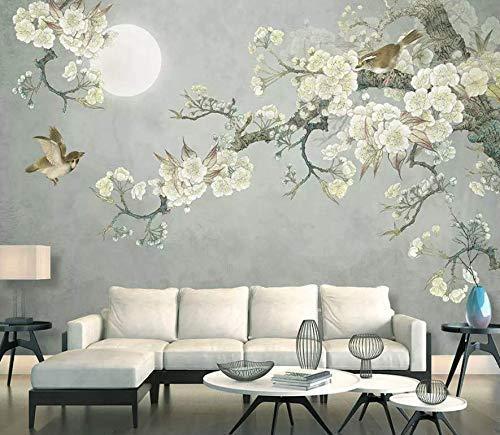 Amazon Com Murwall Vintage Floral Wallpaper Plum Blossom