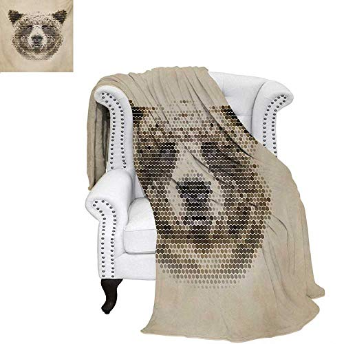 warmfamily Bear Summer Quilt Comforter Wild Animal Head with Hexagonal Dots Blurry Looking Portrait Vintage Geometric Modern Digital Printing Blanket 60