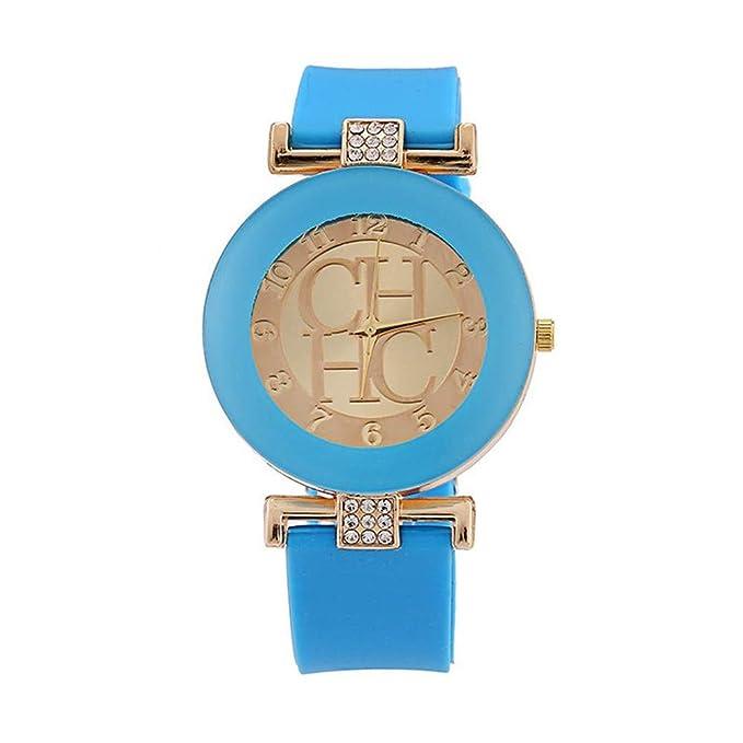 Coconano reloj de dama Reloj para mujer, de color redondo, correa de silicona,