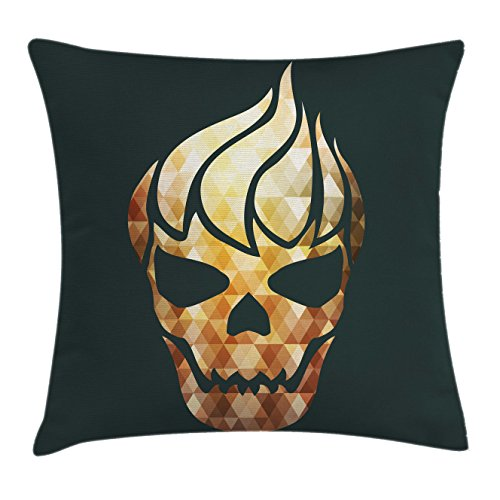 Ambesonne Modern Throw Pillow Cushion Cover, Gothic Skull with Fractal Effects in Fire Evil Halloween Concept, Decorative Square Accent Pillow Case, 20 X 20 inches, Yellow Light Caramel Dark Grey -