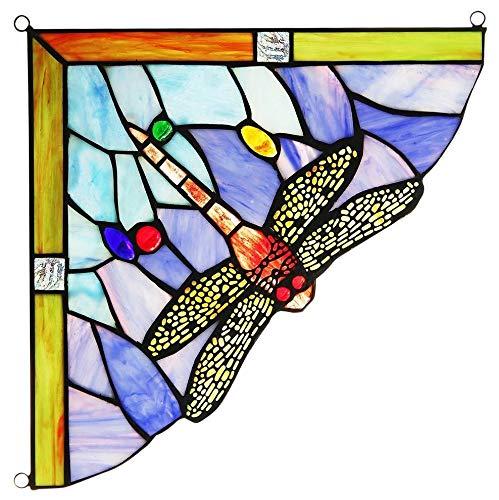 Chloe Lighting Harmonia Dragonfly Tiffany Window Panel ()