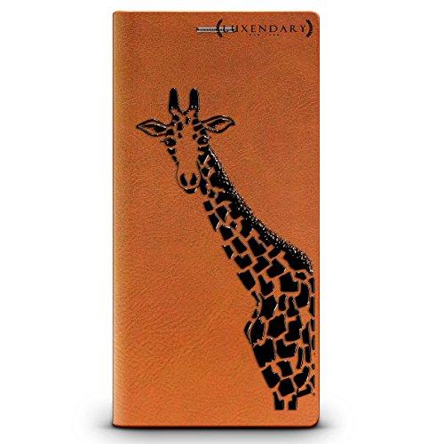 Luxendary Black Pink Giraffe Design iPhone X Leather Wallet Case - Tawny (Black Giraffe Wallet)