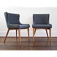 Dining Room Chairs - Set of 2 Modern Dining Chairs - Upholstered Charcoal Grey Fabric - Solid Wooden Legs - EDLOE FINCH
