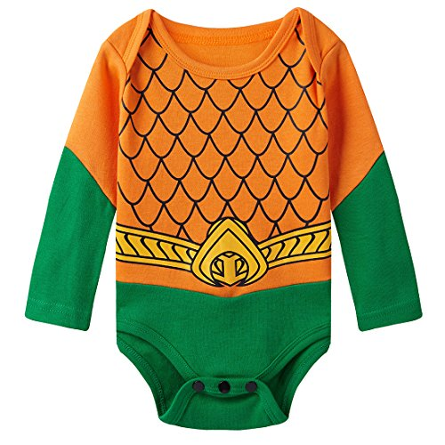 A&J Design Baby Boys' Aquaman Long Sleeve Bodysuit 12-18 Months