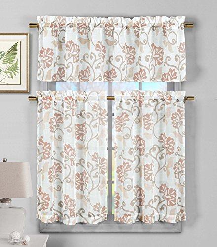Duck River Textile Rivietta Faux Linen Floral Kitchen 3 Piece Window Curtain Tier & Valance Set, 2 29 x 36 & One 58 x 15, Blush