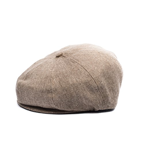 Born to Love Flat Scally Cap - Baby Boy's Ring Bearer Pageboy Flat Ivy Newsboy Tweed Golf Cap Hat-(XL 56cm, Tan News) by Born to Love