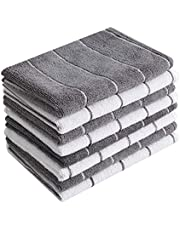 Microfiber Kitchen Towels - Super Absorbent, Soft and Solid Color Dish Towels, 8 Pack (Stripe Designed Grey and White Colors), 26 x 18 Inch (Grey)