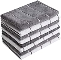 Microfiber Kitchen Towels - Super Absorbent, Soft and Solid Color Dish Towels, 8 Pack (Stripe Designed Green and White...