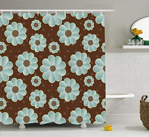 Ambesonne Brown and Blue Shower Curtain, Retro Daisy Pattern with Polka Dot Background Abstract Design, Fabric Bathroom Decor Set with Hooks, 75 Inches Long, Brown Seafoam (Brown Polka Dot Shower Curtain)