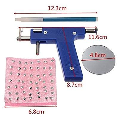 Healthcom Professional Ear Piercing Gun Tool Set 98pcs Ear Studs Steel Ear Nose Navel Body Piercing Gun Unit Tool Kit