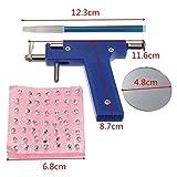 Healthcom Professional Ear Piercing Gun Tool Set 98pcs Ear Studs Steel Ear Nose Navel Body Piercing Gun Unit Tool Kit,Deep Blue