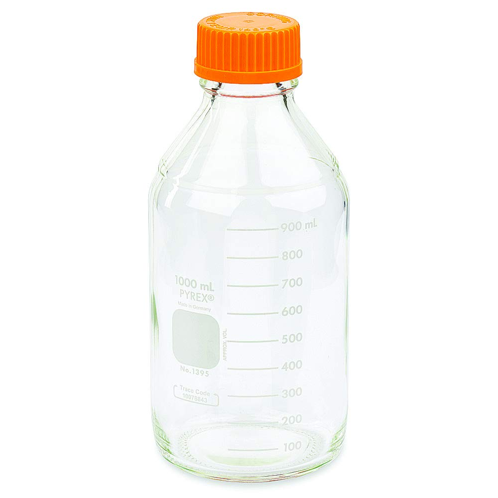 PYREX 1L Round Media Storage Bottles, with GL45 Screw Cap, Ea