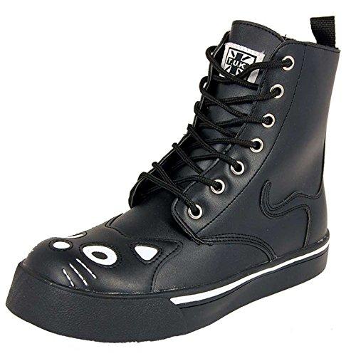 43179369e3e T.U.K. TUK A6570L Ladies Kitty Combat Boot Sneaker Black PU Goth Boots  Womens VEGAN