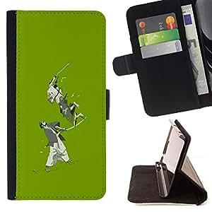 - Green Japanese Samurai Warriors - - Prima caja de la PU billetera de cuero con ranuras para tarjetas, efectivo desmontable correa para l Funny HouseFOR HTC Desire 820