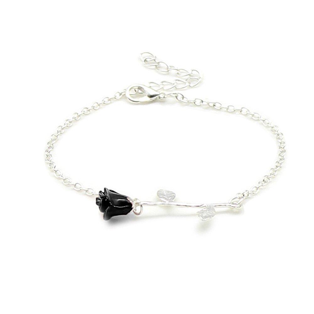 Dwcly Elegant Charm Black Rose Flower Bracelet Pretty Gold Rose Gold Silver Adjustable Link Chain Bracelet Jewelry for Her Silver
