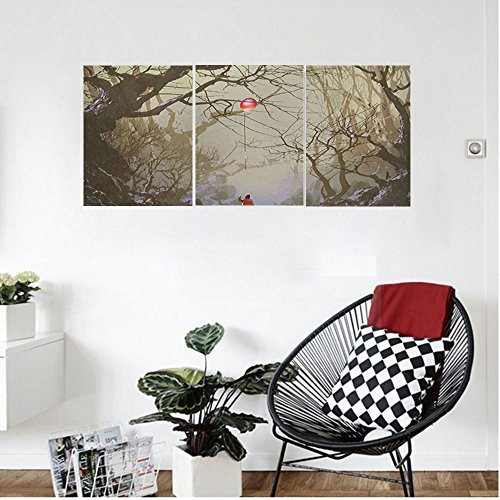 Liguo88 Custom canvas Fantasy Art House Decor Boy Looking Up Red Balloon Stuck on Tree Branch in Foggy Forest Picture Wall Hanging for Bedroom Living Room Brown (Tree Stuck Christmas In Cat)