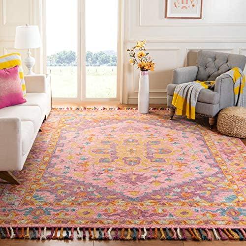 Safavieh Aspen Collection APN226A Handmade Boho Braided Tassel Wool Area Rug