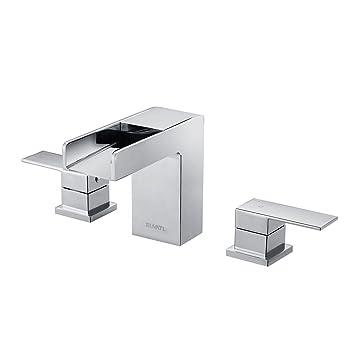 Ruvati RVF5125BN Waterfall 8 15 Widespread Modern Contemporary Bathroom  Faucet, Brushed Nickel