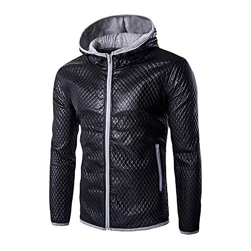 Men Casual Tomatoa Tops Hooded Long Leather Imitation Coat Autumn Light Color Stand Pure Coat Zipper Solid Leather Gray Jacket Cortex Winter Sleeve dvHXqrHxw