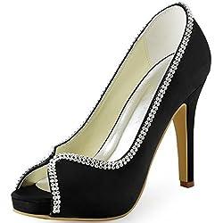 Women High Heel Rhinestones Satin Shoes