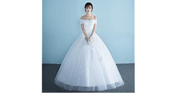 DHG el Personaje de la Novia Es Simple Y Simple, de Gran Tamaño, Princesa Coreana Novia, Boda, Mujer Embarazada, Vestido de Novia,Blanco,XL: Amazon.es: ...