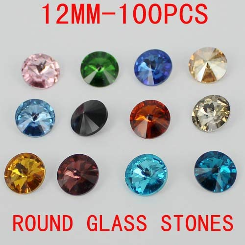 Kamas 12mm 100pcs 1122 Rivoli Crystal Silver Shade stones crystal stones glass beads great for shoes dresses diy - (Color: light)