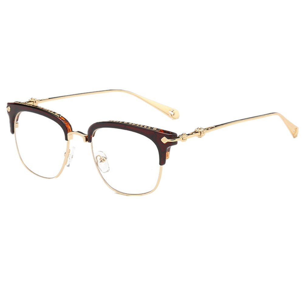 Shiratori Classic Vintage Retro Half Frame Horn Rimmed Clubmaster Optics 50mm Clear Lens Glasses 9047-Beans