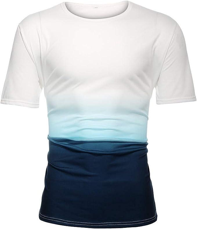 UK Men Fashion Tops Casual Gradient Color T-shirts Mens Skinny Tops Sport Blouse
