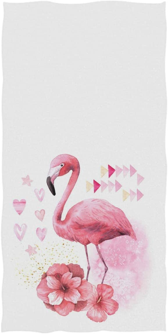 Pfrewn Flamingo Red Hibiscus Flowers Hand Towels Tropical Bird Pink Hearts Small Bathroom Towel Ultra Soft Highly Absorbent Multipurpose Thin Towels for Hand Face Home Decor 16x30 in