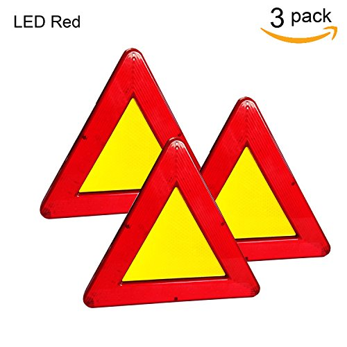 Red Triangle Warning Reflective Kit, 2 Modes Safety Emergency Warning Triangle Reflective for Highway Roadside etc, 9.05 Inch – 3 ()
