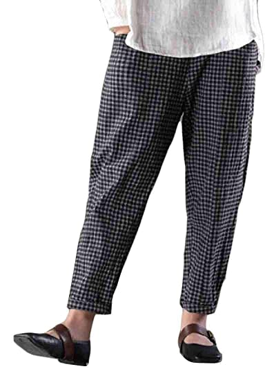 961ddbf25cf86d Fensajomon Women's Cotton Linen Casual Loose Check Harem Pants Trousers  Black XS