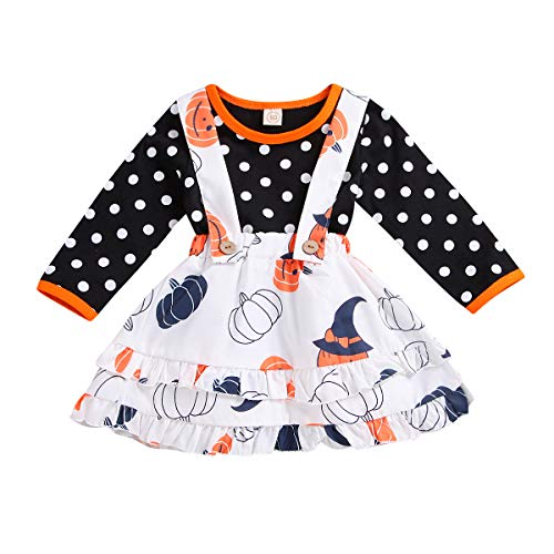 Treafor Baby Girl Halloween Outfit Pumpkin Witch Suspender Skirt + Long Sleeve Polka Top T-Shirt (6-12 M, White)