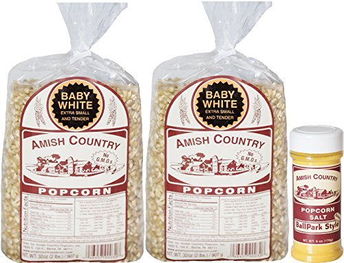 Balls Popcorn Recipe (Amish Country Popcorn - 2 (2 lb. bags) Baby White and 1 (6 oz) Ballpark Butter Salt with Recipe Guide - Old Fashioned, Non GMO, and Gluten Free - 1 Year Freshness Guarantee)
