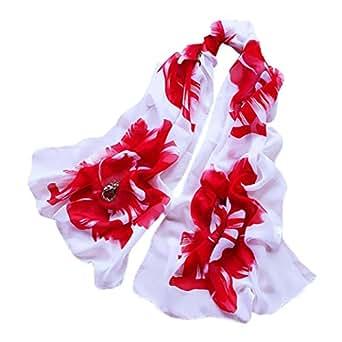 Vovotrade Mujer Fino suave gasa de seda de la bufanda de la flor impreso bufandas del mantón del abrigo,160cmx50cm (A)