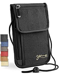 Passport Holder- by YOMO. RFID Safe. The Classic Neck Travel Wallet. (Black-New 2018)